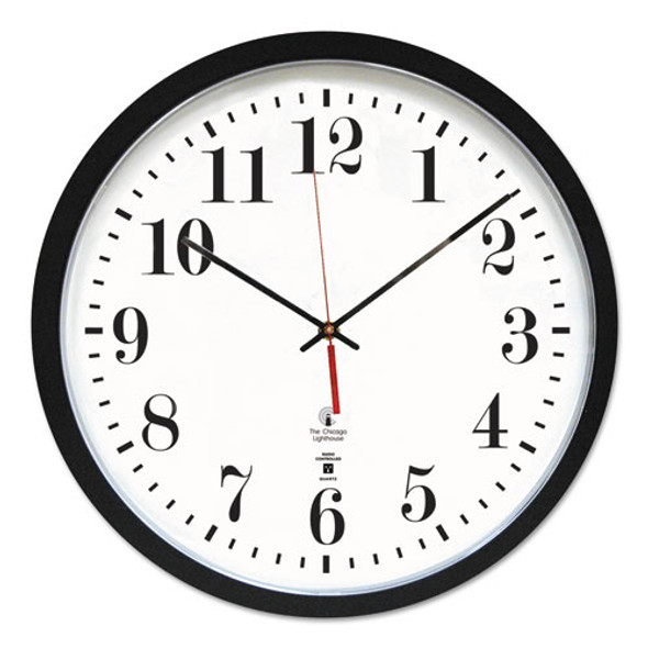 """Black Atomic Contemporary Clock, 16.5"""" Overall Diameter, Black Case, 1 Aa (sold Separately)"""
