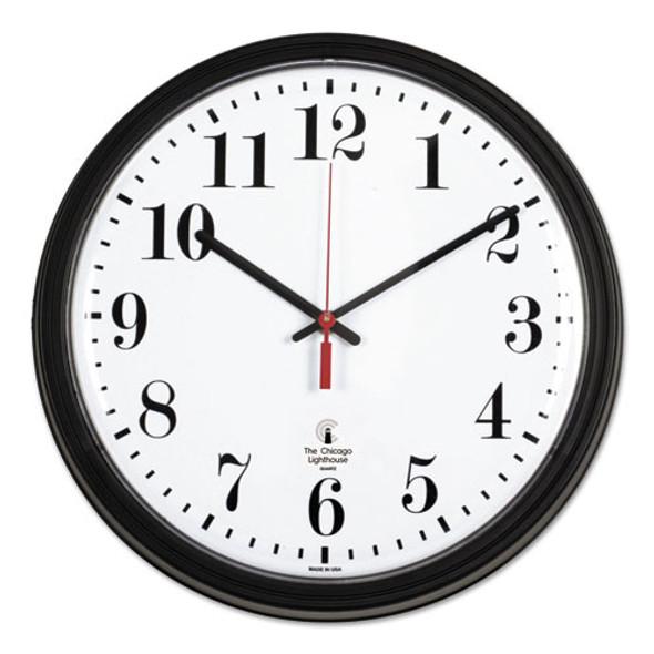 "Black Quartz Contract Clock, 13.75"" Overall Diameter, Black Case, 1 Aa (sold Separately)"