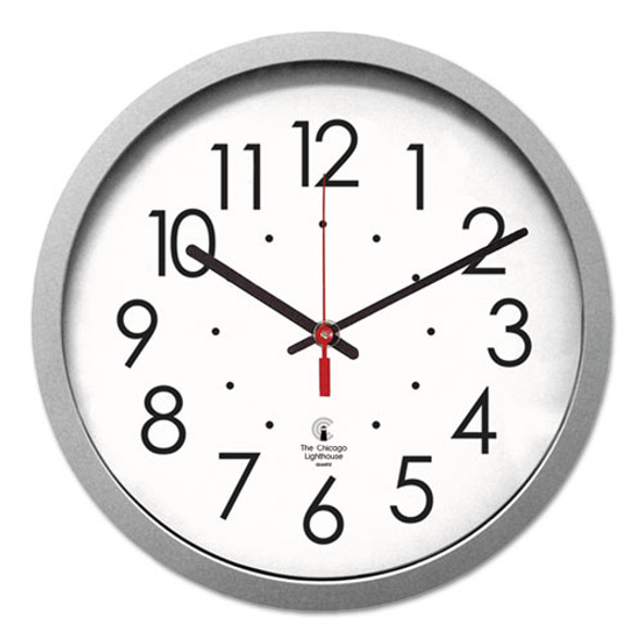 """Silver Contemporary Clock, 14.5"""" Overall Diameter, Silver Case, 1 Aa (sold Separately)"""