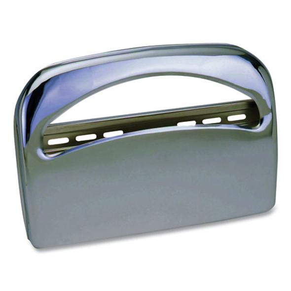 Metal 1/2 Fold Toilet Seat Cover Dispenser, 16.35 X 2.45 X 11.55, Chrome