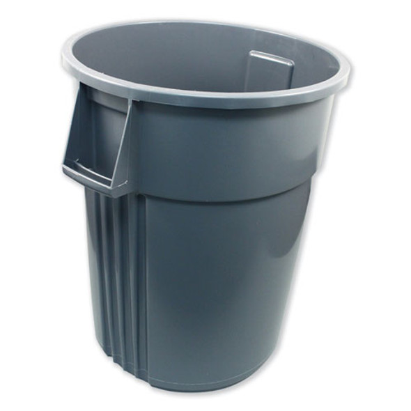 Advanced Gator Waste Container, Round, Plastic, 55 Gal, Gray