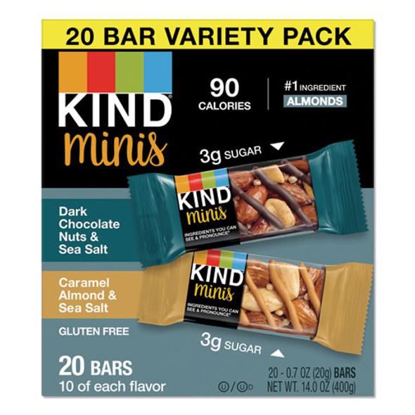 Minis, Dark Chocolate Nuts And Sea Salt/caramel Almond And Sea Salt, 0.7 Oz, 20/pack