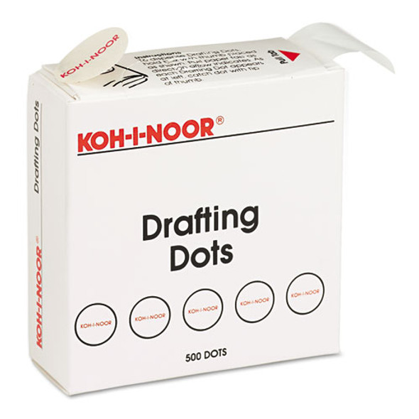 """Adhesive Drafting Dots, 0.88"""" Dia, Dries Clear, 500/box"""