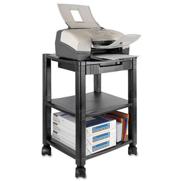 Mobile Printer Stand, Three-shelf, 17w X 13.25d X 24.5h, Black