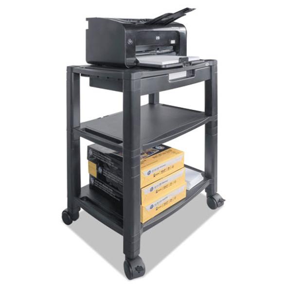 Mobile Printer Stand, Three-shelf, 20w X 13.25d X 24.5h, Black