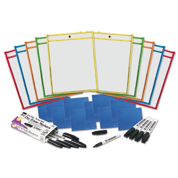 Dry Erase Pocket Class Pack, Assorted Primary Colors, 10/pack