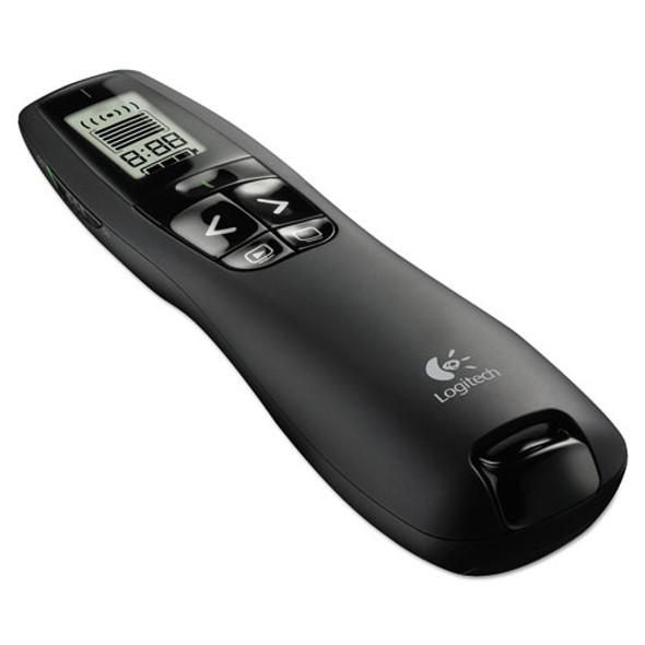 R800 Wireless Laser Presentation Remote W/lcd Display, 100 Ft Range, Matte Black