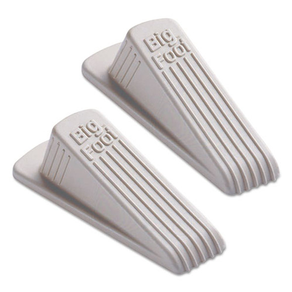 Big Foot Doorstop, No Slip Rubber Wedge, 2.25w X 4.75d X 1.25h, Beige, 2/pack