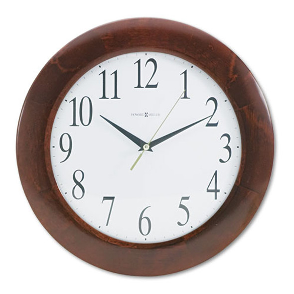 """Corporate Wall Clock, 12.75"""" Overall Diameter, Cherry Case, 1 Aa (sold Separately)"""
