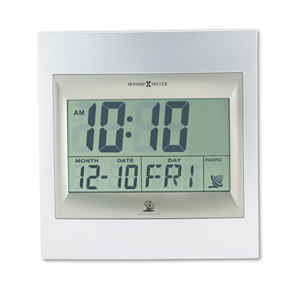 """Techtime Ii Radio-controlled Lcd Wall Or Table Alarm Clock, 8.75"""" X 9.25"""", Silver/titanium Case, 1 Aa (sold Separately)"""