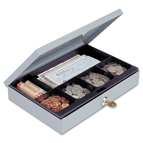 Heavy-duty Steel Low-profile Cash Box W/6 Compartments, Key Lock, Gray