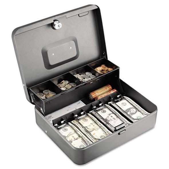 Tiered Cash Box W/bill Weights, Cam Key Lock, Charcoal