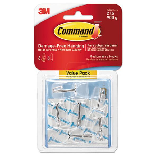 Clear Hooks & Strips, Plastic, Medium, 6 Hooks & 8 Strips/pack