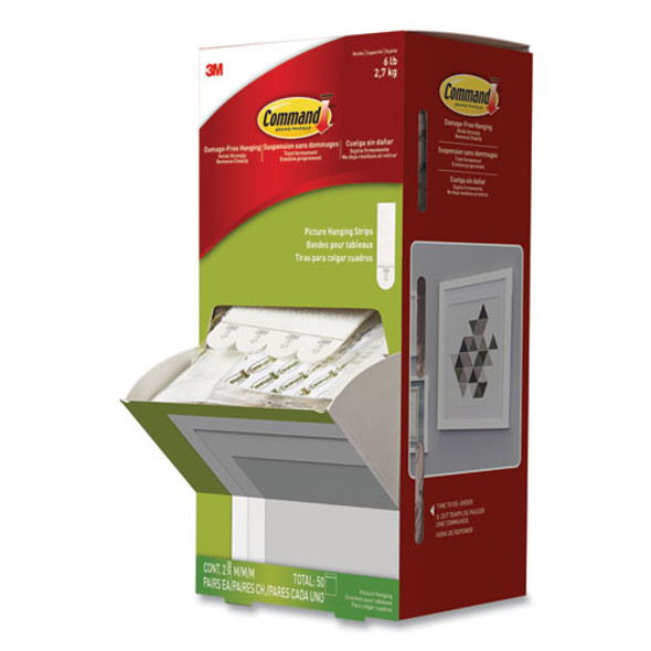 """Picture Hanging Strips, Cabinet Pack, Removable, 0.75"""" X 2.75"""", White, 4/set, 50 Sets/carton"""
