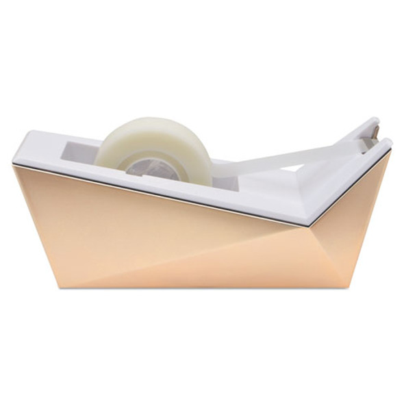 """Facet Design One-handed Dispenser, With 3/4 X 350 Tape Roll, 1"""" Core, Copper"""