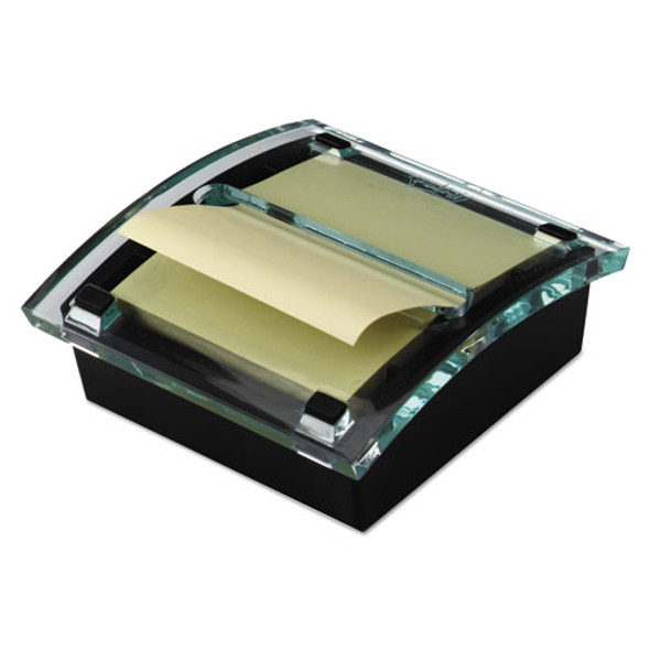 Clear Top Pop-up Note Dispenser, 3 X 3 Super Sticky Canary Notes, Black
