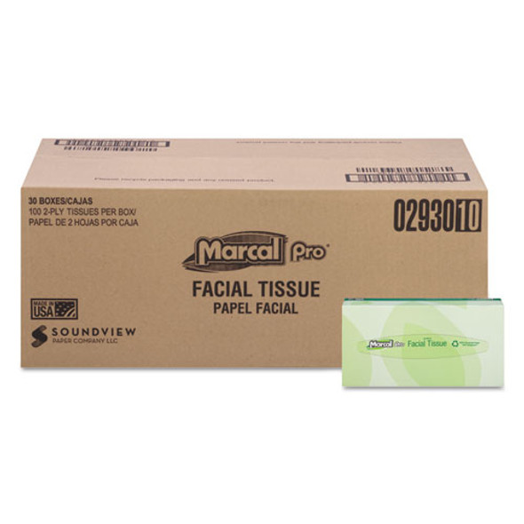 100% Recycled Convenience Pack Facial Tissue, Septic Safe, 2-ply, White, 100 Sheets/box, 30 Boxes/carton