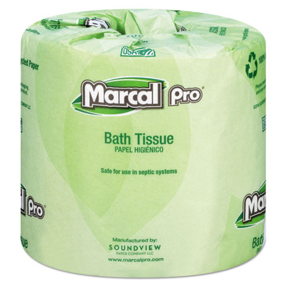 100% Recycled Bathroom Tissue, Septic Safe, 2-ply, White, 242 Sheets/roll, 48 Rolls/carton