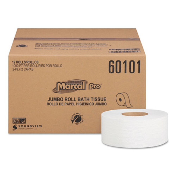 100% Recycled Bathroom Tissue, Septic Safe, 2-ply, White, 3.3 X 1000 Ft, 12 Rolls/carton