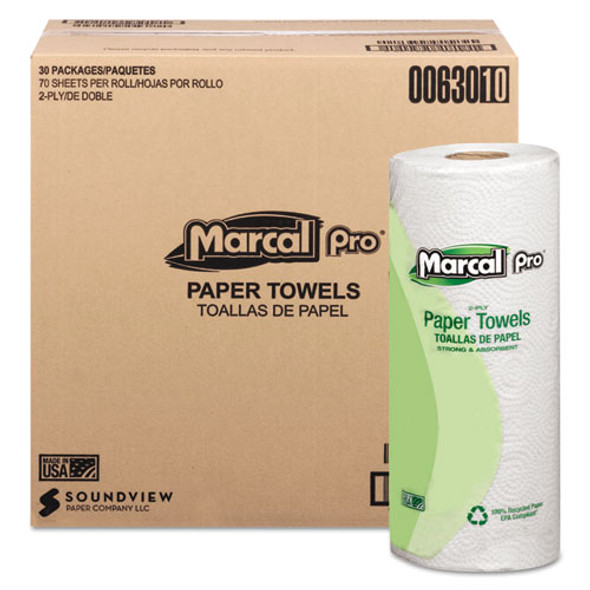 100% Premium Recycled Towels, 2-ply, 11 X 9, White, 70/roll, 30 Rolls/carton