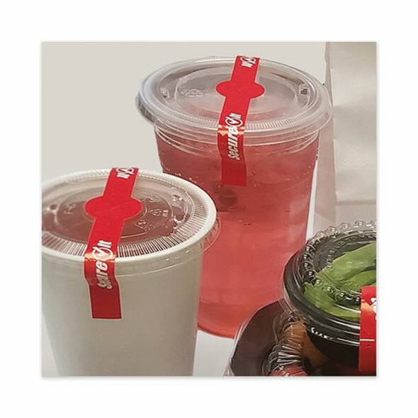 "Secureit Tamper Evident Drink Lid Seal, ""secure It"", 1 X 7, Red, 250/roll, 2 Rolls/pack"