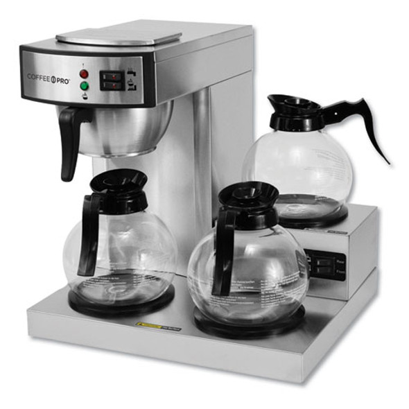 Three-burner Low Profile Institutional Coffee Maker, Stainless Steel, 36 Cups