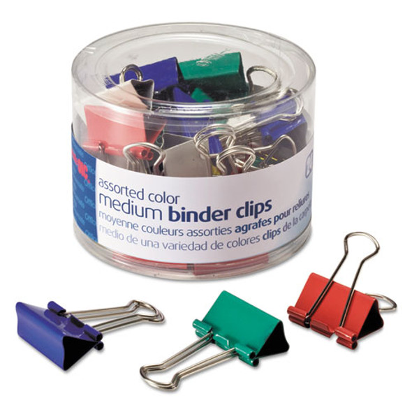 Assorted Colors Binder Clips, Medium, 24/pack