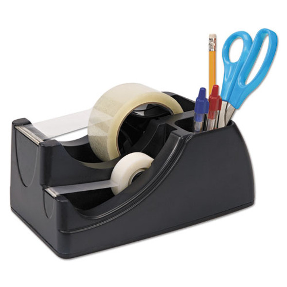 """Recycled 2-in-1 Heavy Duty Tape Dispenser, 1"""" And 3"""" Cores, Black"""