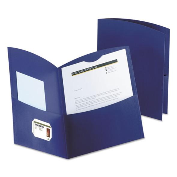 Contour Two-pocket Recycled Paper Folder, 100-sheet Capacity, Dark Blue
