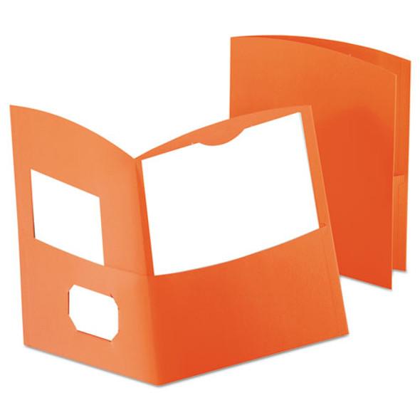 Contour Two-pocket Recycled Paper Folder, 100-sheet Capacity, Orange
