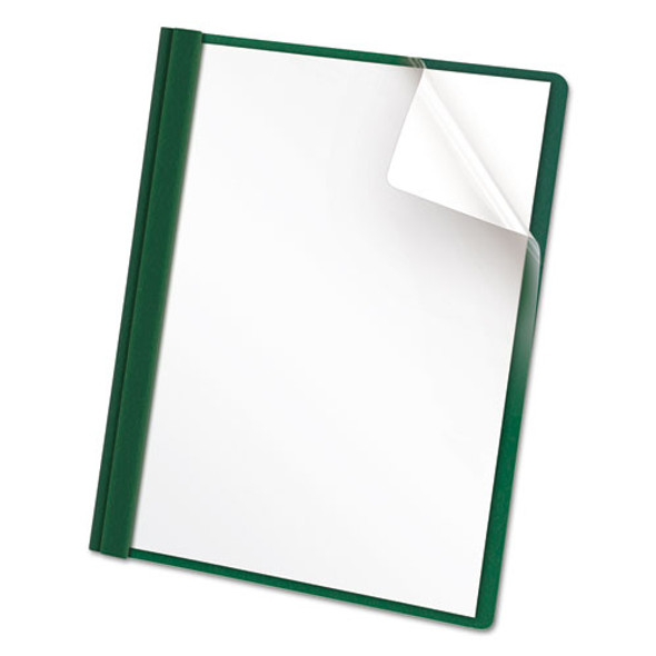 """Clear Front Report Cover, 3 Fasteners, Letter, 1/2"""" Capacity, Green, 25/box - IVSOXF55856"""