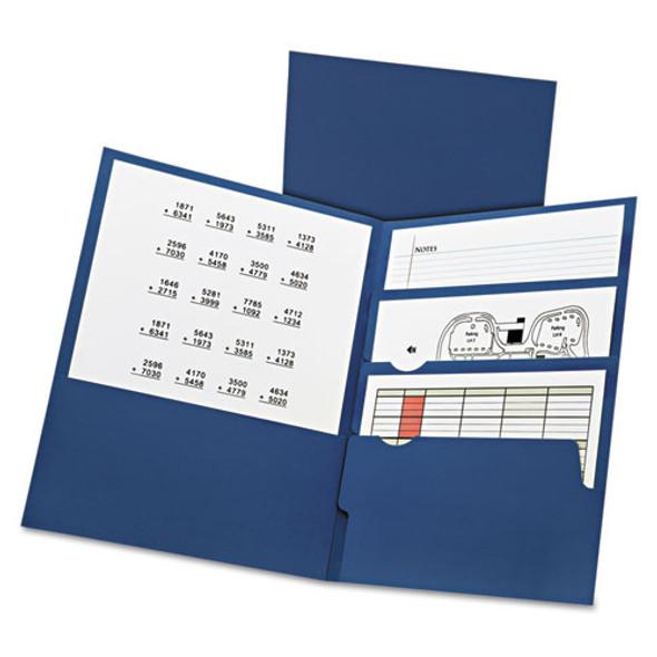 Divide It Up Four-pocket Paper Folders, 11 X 8-1/2, Navy, 20/box
