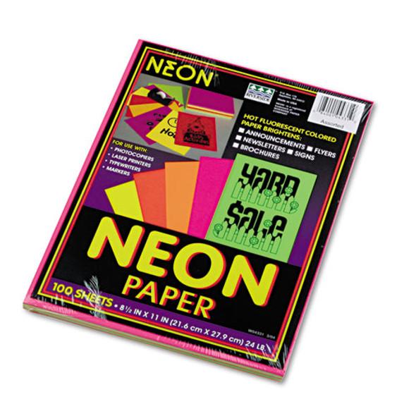 Array Colored Bond Paper, 24lb, 8.5 X 11, Assorted Neon Colors, 100/pack