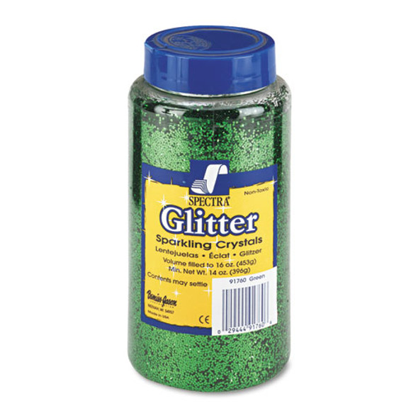 Spectra Glitter, .04 Hexagon Crystals, Green, 16 Oz Shaker-top Jar