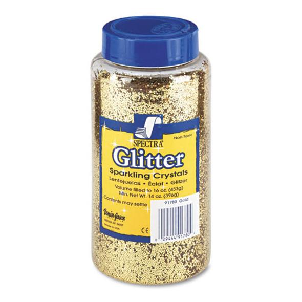 Spectra Glitter, .04 Hexagon Crystals, Gold, 16 Oz Shaker-top Jar