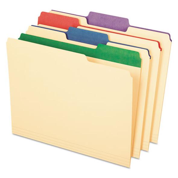 Color Tab File Folders, 1/3-cut Tabs, Letter Size, Manila, 50/box