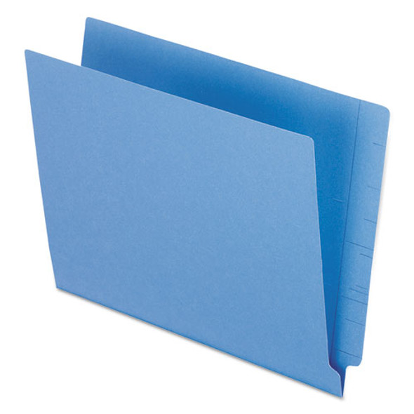 Colored End Tab Folders With Reinforced 2-ply Straight Cut Tabs, Letter Size, Blue, 100/box