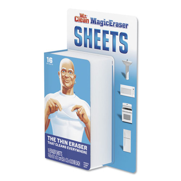 "Magic Eraser Sheets, 3.5"" X 5.8"" X 0.03"", White, 16/pack, 8 Pack/carton"