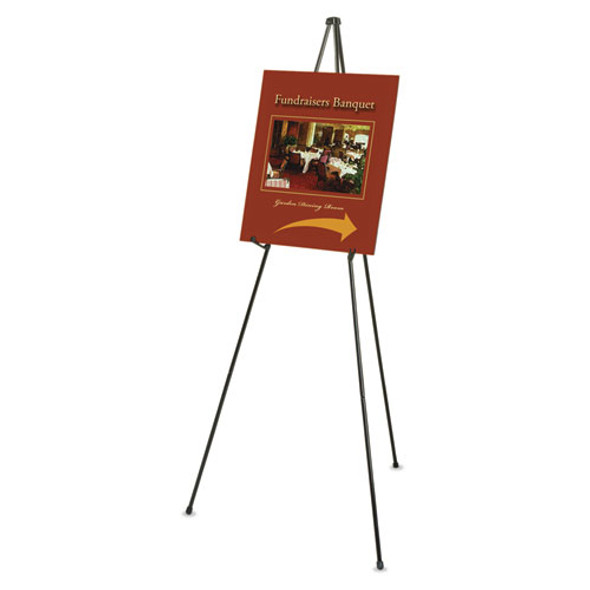 """Heavy-duty Adjustable Instant Easel Stand, 25"""" To 63"""" High, Steel, Black"""
