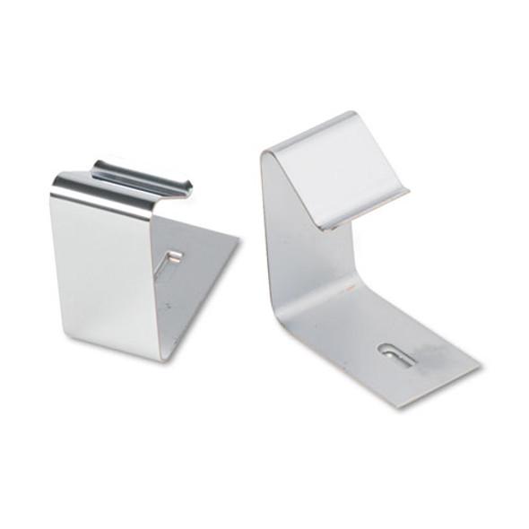 "Flexible Metal Cubicle Hangers, 1 1/2"" - 2 1/2"" Panels, Silver, 2/set"