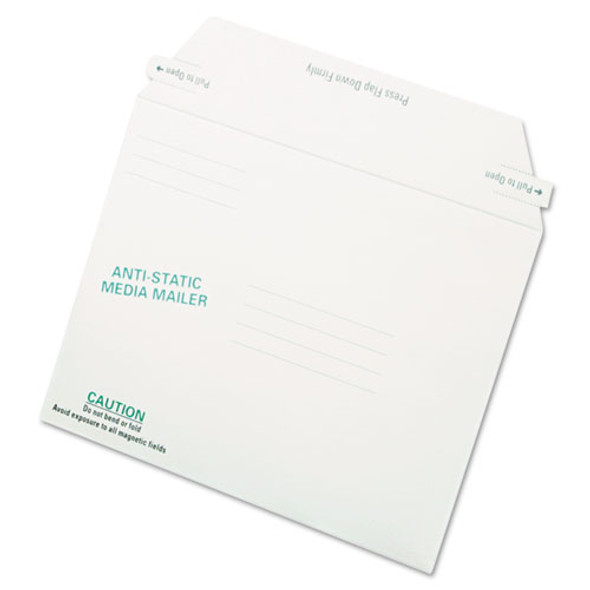 Antistatic Fiberboard Disk Cd/dvd Mailer, Cheese Blade Flap, Closure, 6 X 8.63, White, 25/box