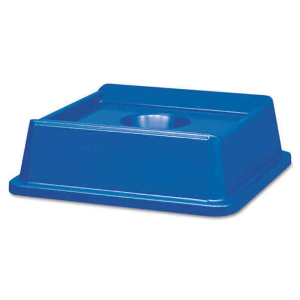 Untouchable Bottle And Can Recycling Top, Square, 20.13w X 20.13d X 6.25h, Blue