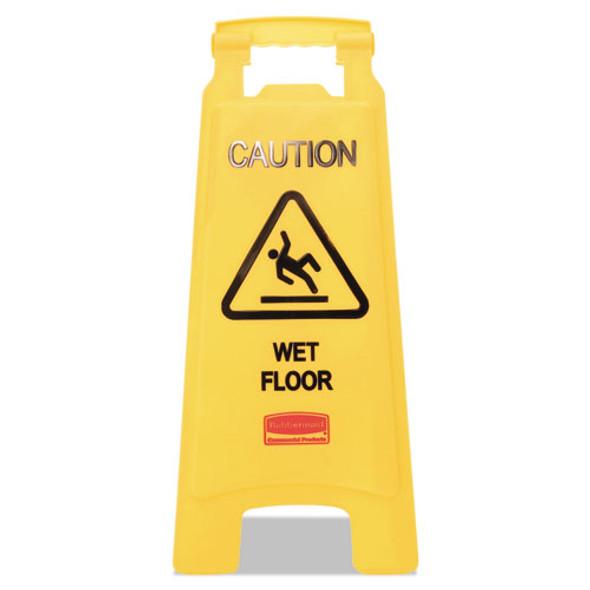 Caution Wet Floor Floor Sign, Plastic, 11 X 12 X 25, Bright Yellow