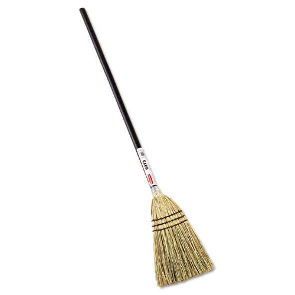"Lobby Corn-fill Broom, 28"" Handle, 38"" Overall Length, Brown"