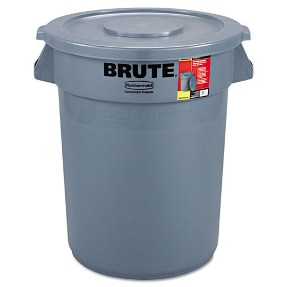 Brute Container With Lid, Round, Plastic, 32 Gal, Gray