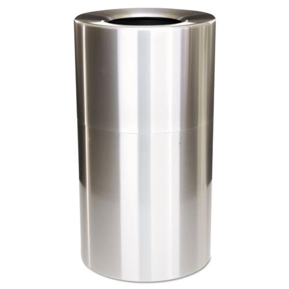 2-piece Open Top Indoor Receptacle, Round, With Liner, 35 Gal, Satin Aluminum