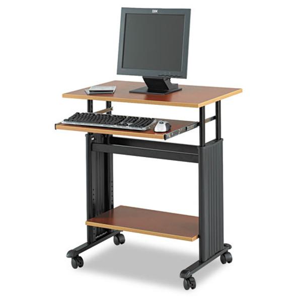 Adjustable Height Workstation, 29.5w X 22d X 34h, Cherry/black