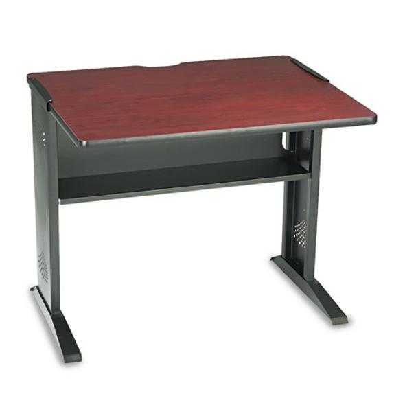 Computer Desk With Reversible Top, 35.5w X 28d X 30h, Mahogany/medium Oak/black