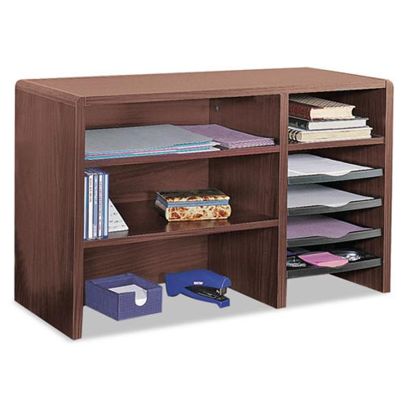 Desktop Organizer, Nine Sections, 29 X 12 X 18, Mahogany