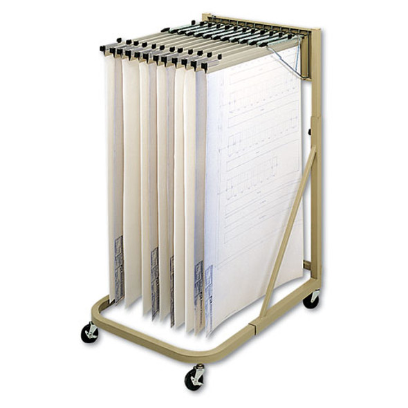Steel Sheet File Mobile Rack, 12 Pivot Brackets, 27w X 37.5d X 61.5h, Sand